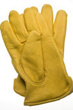 Yellow leather work glove Royalty Free Stock Images