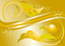 Yellow leaves and arrows with yellow atlas background Stock Photos