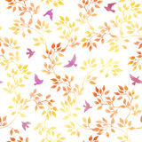 Yellow leaves, cute birds. Vintage watercolor autumn seamless pattern in naive design Royalty Free Stock Image