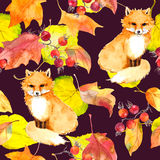 Yellow leaves, fox animal. Repeating autumn pattern. Vintage watercolor Royalty Free Stock Image