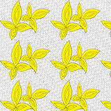 Yellow leaves hand drawn pattern. Yellow leaves on lined background hand drawn pattern. Abstract design for fabrics, clothes Royalty Free Stock Images