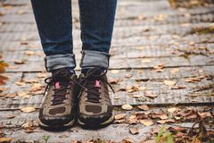 Yellow leaves and legs in shoes against the background of wooden boards royalty free stock images