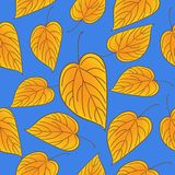 Yellow leaves over blue sky seamless pattern. Autumn vector background. Yellow leaves over blue sky seamless pattern. Autumn vector background vector illustration