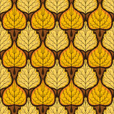 Yellow leaves pattern on dark background. Bright autumn seamless Stock Images