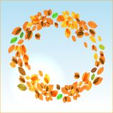 Yellow leaves vector fall background. Yellow leaves circular vector fall background with day sky stock illustration