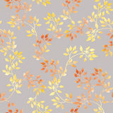 Yellow leaves. Watercolor autumn seamless pattern in cute style Royalty Free Stock Images