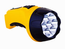 Yellow LED flashlight. On white isolated background Stock Photography