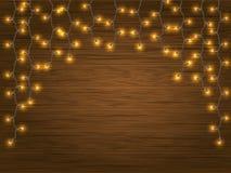 Yellow LED Light Christmas Garland Stock Images