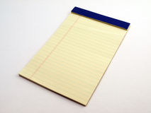 Yellow Legal pad 1. Yellow Ruled Legal pad on white stock image