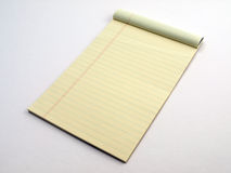 Yellow Legal pad page flipped Stock Photos