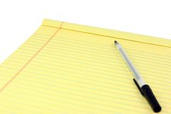 Yellow Legal Pad And Pen Stock Image