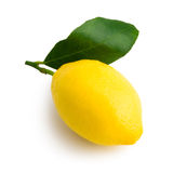 Yellow lemon. A yellow lemon viewed from above (profile) with its leaf. Laid on a pure white background with clipping path (excluding the drop shadow stock image