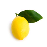 Yellow lemon. A yellow lemon viewed from 3/4 front with its leaf. Laid on a pure white background with clipping path (excluding the drop shadow stock photography