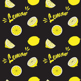 Yellow lemon on black field. Seamless background Stock Photos