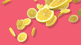 Yellow lemon citrus 3D, tow video transitions isolated - footage 4K