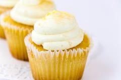 Yellow lemon cupcake Stock Photography