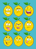 Yellow Lemon Fruit Cartoon Emoji Face Character Set 2. Collection Royalty Free Stock Image