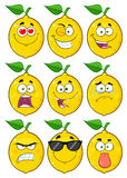 Yellow Lemon Fruit Cartoon Emoji Face Character Set 1. Collection Royalty Free Stock Image