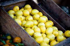 Yellow Lemon Fruits Inside Brown Wooden Container Royalty Free Stock Image