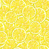 Yellow lemon fruits segments. Watercolor drawing. Handwork. Tropical fruit. Healthy food. Seamless pattern for design Royalty Free Stock Images