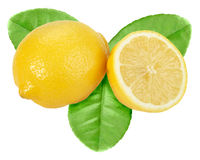 Yellow lemon with green leaf Royalty Free Stock Image