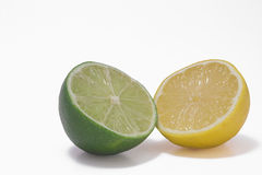 Yellow lemon & green lime Royalty Free Stock Image