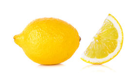 Yellow Lemon isolated on the white background Stock Images
