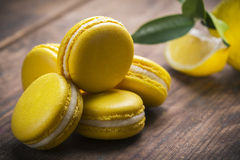 Yellow lemon macaroon Royalty Free Stock Images