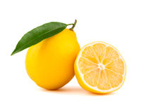 Yellow lemon with slice Royalty Free Stock Photo