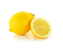 Yellow Lemon  on the white background Royalty Free Stock Images