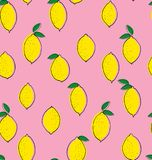 Cute Hand Draw Abstract Yellow Lemons Vector Pattern. Bold Colors Design. Blue Smooth Background. Infantile Style. Yellow lemons with black thin outline. Green stock illustration