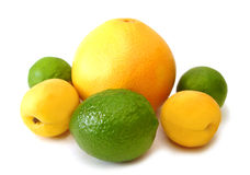 Yellow lemons and green limes Royalty Free Stock Photos