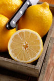 Yellow lemons organic. Yellow lemons of Sorrento organic on the wooden table royalty free stock image