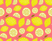Yellow lemons on pink background. Seamless pattern, vector texture Stock Images
