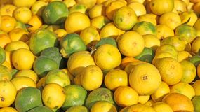Yellow lemons from Sicily for sale at the local market Royalty Free Stock Images