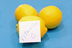 Yellow lemons, vitamin C sticker Royalty Free Stock Photo