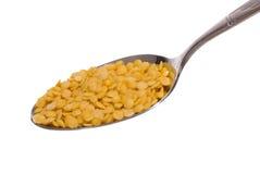 Yellow lentil. Food and Spoon Series, Macro, Studio Shot Stock Image