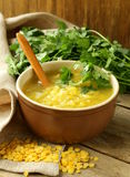 Yellow lentil soup with coriander Stock Image