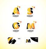Yellow letter alphabet icon logo set Stock Photos