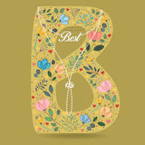Yellow Letter B with Floral Decor and Necklace Royalty Free Stock Photo