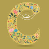 Yellow Letter C with Floral Decor and Necklace Royalty Free Stock Image
