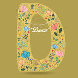 Yellow Letter D with Floral Decor and Necklace Stock Photography