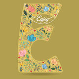 Yellow Letter E with Floral Decor and Necklace Stock Photography