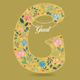 Yellow Letter G with Floral Decor and Necklace Royalty Free Stock Photos