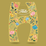 Yellow Letter H with Floral Decor and Necklace Royalty Free Stock Photo