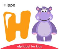 Yellow letter H and violet Hippo. English alphabet with animals. Cartoon characters isolated on white background. Flat design. Zoo theme. Colorful vector vector illustration