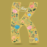Yellow Letter K with Floral Decor and Necklace Royalty Free Stock Images