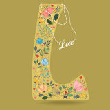 Yellow Letter L with Floral Decor and Necklace royalty free stock photos