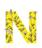Yellow letter N with camomile flowers. Floral letter design with hand-drawn camomile flowers. For more letters in this style check my portfolio Stock Images