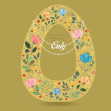 Yellow Letter O with Floral Decor and Necklace Royalty Free Stock Photos